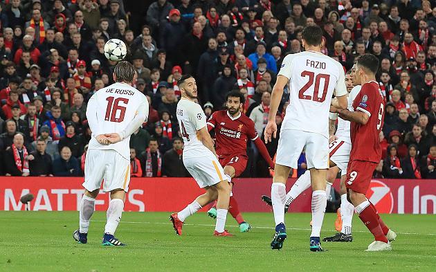 Mohamed Salah trifft zum 1:0 gegen die Roma